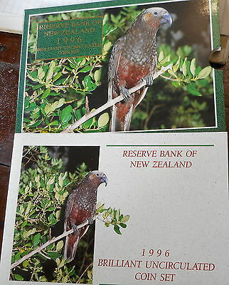 New Zealand 1996 Uncirculated  Mint set in Folder - inc $5 Kaka  Bird