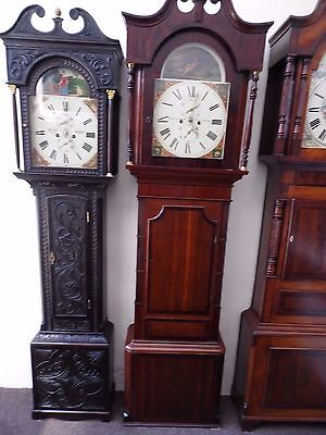 "Large 88"" Oak & Mahogany 8 Day Longcase Grandfather Clock Rawsthorne Clitheroe"