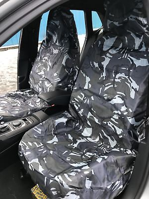 Car Van Front Pair Grey Urban DPM Camo Camouflage Waterproof Airbag Seat Covers