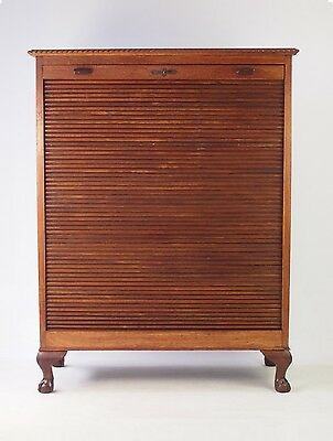 Antique Edwardian Tambour Front Cabinet - Roll Top Filing Cupboard Chest Drawers
