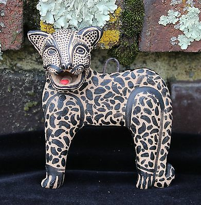 # 5 Jaguar Wall Sculpture Amatenango Hand made & Painted Chiapas Mexico Folk Art