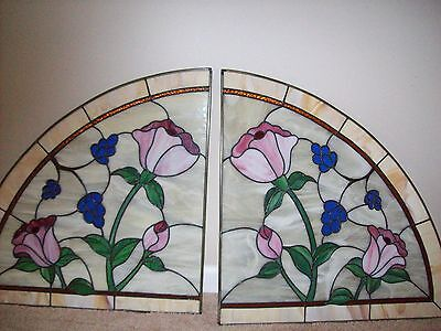 """Pair Vintage Handcrafted STAINED LEADED GLASS  WINDOW INSERTS Curved 22"""" x 24"""""""