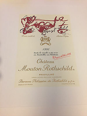 Chateau Mouton Rothschild Label Poster 1995, artist Antoni Tapies unique items!