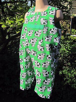 Boys Adjustable Dungarees, Green, Farm Design, Age 12-18 months, New, Handmade