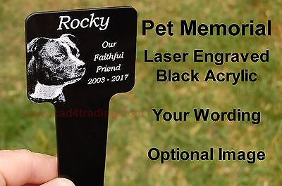 Engraved Acrylic Pet Memorial Plaque Stake Image Grave Marker Laser Engraved