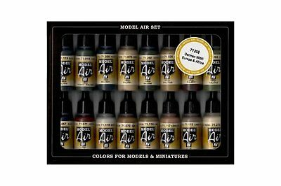 VALLEJO 71.208 Model Air Paint Set WWII German Colors Europe and Africa 16x17ml