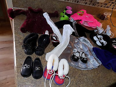 large lot of american girl doll clothes dresses shoes boots poodle skirt ski acc