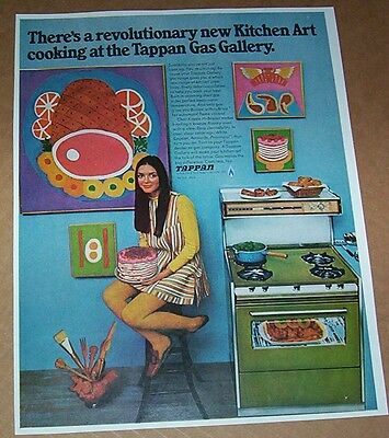 1968 advertising - Tappan Gas Ranges stove oven Girl MOD kitchen art PRINT AD
