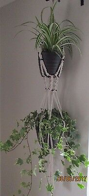 """Beautiful handcrafted macrame double plant hanger 44"""" black beads INDOOR / OUT"""