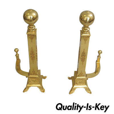 "Pair of Vintage Brass Cannonball Andirons Cherubs French Empire Regency 30"" Tall"