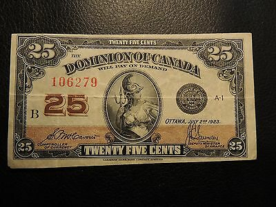 1923 Dominion Of Canada Shinplaster 0.25 Twenty Five Mccavour Saunders 106279