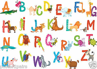 Alphabet Animals A-Z Kids Educational Giant Art Poster Print - Lots of Sizes
