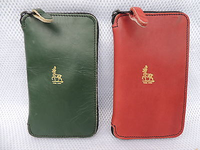2x Allcocks Soft Leather & Sheepskin Lined Fly Fishing Wallets /Cases..For Flies