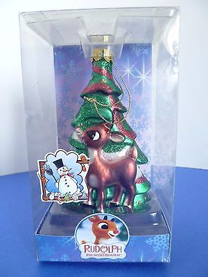 Rudolph the Red Nosed Reindeer Christmas Tree Holiday Glass Ornament 2004