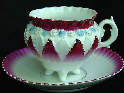 Antique Footed Hand Painted Bone China Tea Cup and Saucer