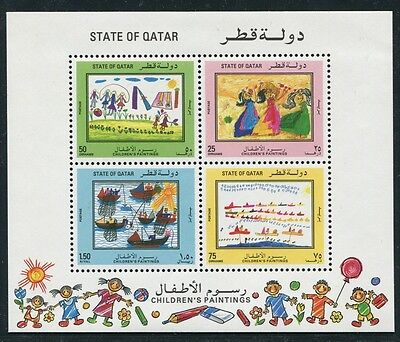 QATAR 1992 Kinderzeichnung Children`s Paintings Kunst Art Block 26 ** MNH