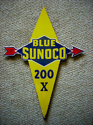 Vintage Original Blue Sunoco 200 X Pump Plate Single Sided Porcelain Sign