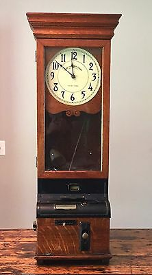 Antique 1918 International Time Recording Co Early IBM Punch Clock Running Elect