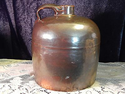 "Antique Brown Stoneware Moonshine Whiskey Beehive Jug 8 1/2"" Tall"