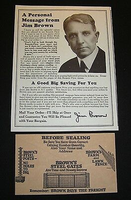 1920's BROWN FENCE & WIRE CO - ADVERTISING ENVELOPE & ORDER FORM MAGAZINE INSERT