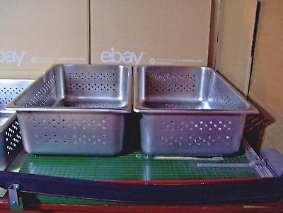 "Lot of 2 Full Size Perforated Stainless Steel Steam Table Pans NSF - 6"" Deep"