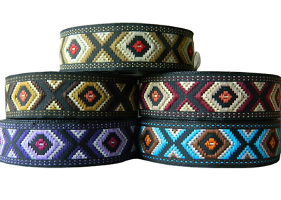 1m EMBROIDERED RIBBON TRIM*AZTEC*TRIBAL*ETHNIC*25mm