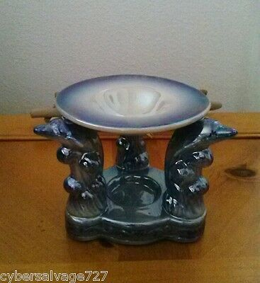 Porcelain Triple Dolphin Oil Burner Warmer Diffuser One Piece For Aromatherapy