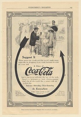 1911 Coke Coca-Cola Arrow Soda Fountain Guy Girl Print Ad