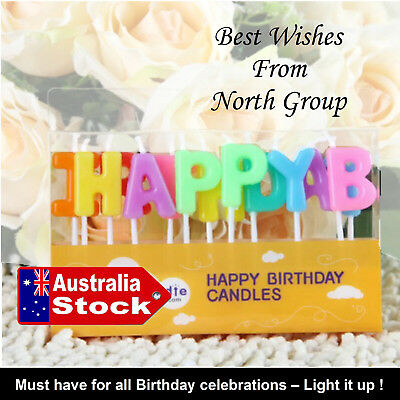 Happy Birthday Alphabets Candles Party Cake Topper Decoration Mix colours