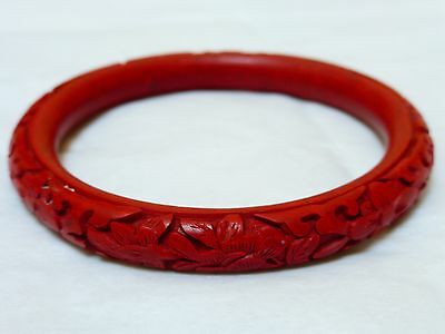 Chinese Vintage Red Cinnabar Bangle