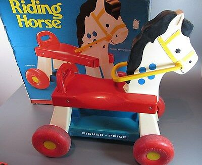 VINTAGE FISHER PRICE Whinny Riding Horse # 978 Pull / Ride on 1976 w/ Box RARE