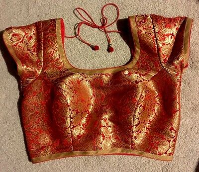 Designer Ready made RED AND GOLD CHOLI saree blouse BACK closure size 36 INDIA