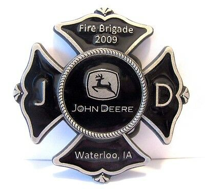 RARE John Deere FIRE BRIGADE Belt Buckle 2009 Waterloo Employee Limitd Ed 70/140