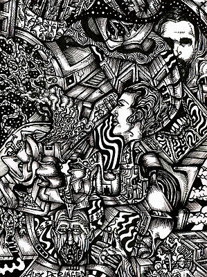 "Outsider Psychedelic Surrealism DELIVER US FROM MADNESS Original Art 12""x9"" Ink"