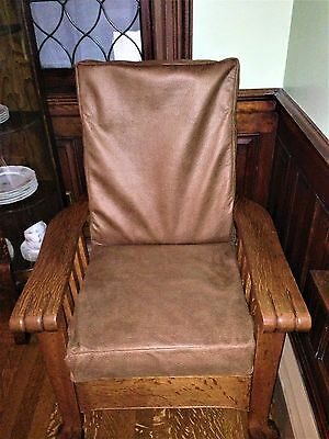 Antique Tiger  Oak Chair Morris chair with  claw feet and arms