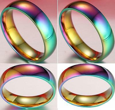 25x Rainbow Color Unique Men Women Stainless Steel Rings Wedding Band 6mm Ring
