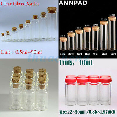 5-100pcs 0.5-200ml Empty Vials Clear Glass Bottles with Corks Jars Small bottle