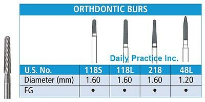 Johnson-Promident Carbide Burs FG 18-Blade ORTHODONTIC All Sizes Box/5