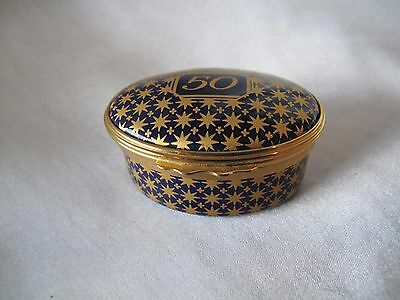 Halcyon Days Small Enamel And Gold Trinket/pill Box With Number 50 On Lid