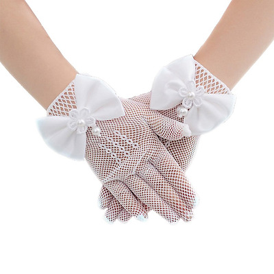 Girls Flora White Lace Satin Fancy Stretch Short Gloves for First Communion