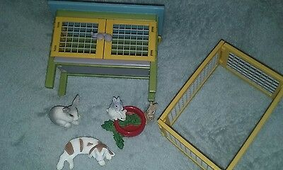 Schleich Worlds of Imagination Bunny Rabbit Hutch & Pen Scenery Pack Set Figures