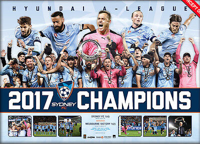 Sydney FC Framed 2017 A-League Champions Official Sportsprint ONLY Brosque