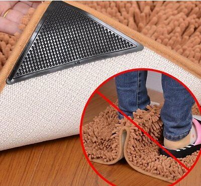 4Pcs Silicone Rug Carpet Mat Grippers Non Slip Corners Pad Anti Skid Washable
