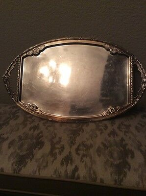 Vintage Heavy Silver Plated Ornate Oval Tray