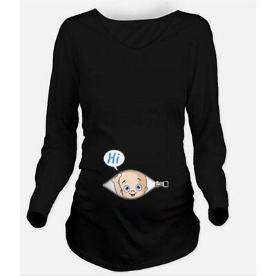 New Funny Baby's Hi Greetings Maternity Women Pregnant Tops Loose Casual T-shirt