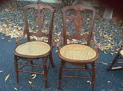 Victorian East Lake Carved Walnut Dining Chair Cane Seat Antique LOT of 2 chairs