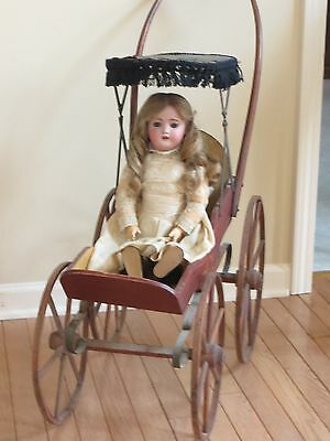 Antique Childs Doll Stroller/Carriage, Wood, Painted Body, 1800's VG Condition