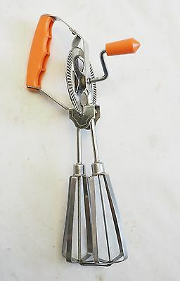 Vintage Egg Beater Hand Wind Orange And Stainless Steel Japan Working Well