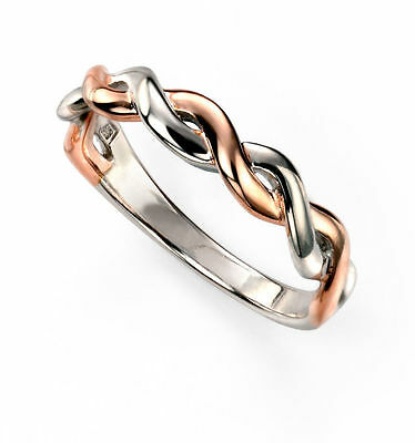 Sterling Silver Ring Rose Gold & Rhodium Plated Fixed Silver Twist Ring R3434