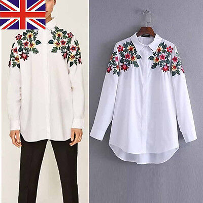 Womens Shirt Blouse Shoulder Floral Printed Tops Long Sleeve White Casual Shirts